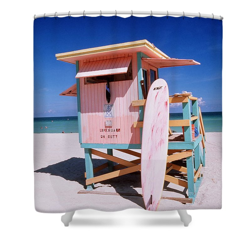 City Shower Curtain featuring the photograph Usa Florida Miami Beach Lifeguard by Buena Vista Images