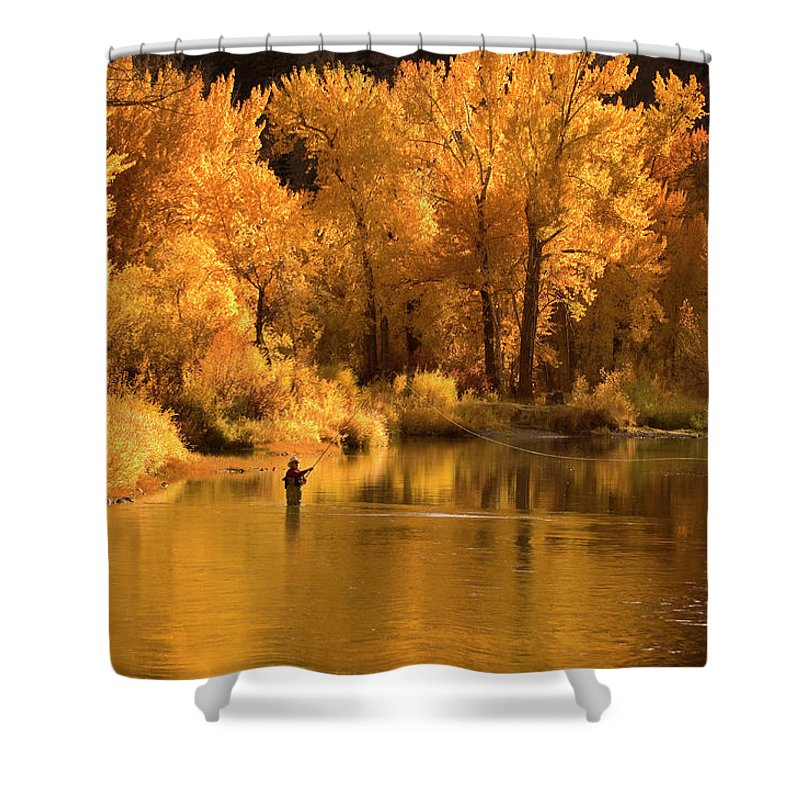 Orange Color Shower Curtain featuring the photograph Usa, Idaho, Salmon River, Mature Man by Steve Bly