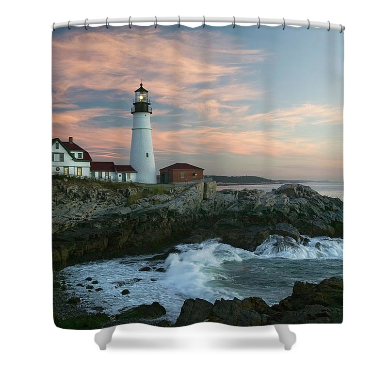 Scenics Shower Curtain featuring the photograph Usa, Maine, Cape Elizabeth, Portland by Visionsofamerica/joe Sohm