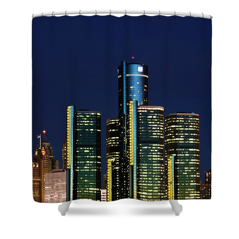 Detroit Shower Curtain featuring the photograph Usa, Michigan, Detroit, Skyline & by Walter Bibikow