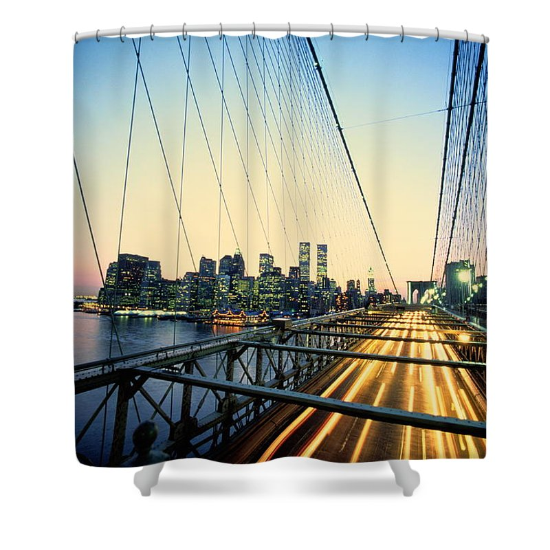Twin Towers Shower Curtain featuring the photograph Usa, New York City, Manhattan, View by Paul Radenfeld