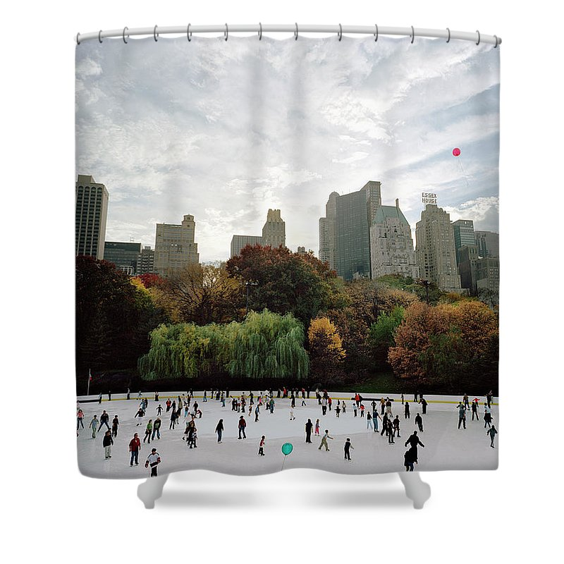 Child Shower Curtain featuring the photograph Usa, New York City, People Ice Skating by Carl Lyttle