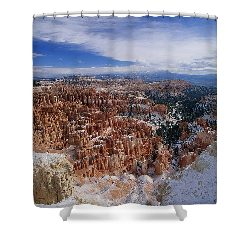 Snow Shower Curtain featuring the photograph Usa, Utah, Winter Bryce Canyon by Stan Osolinski