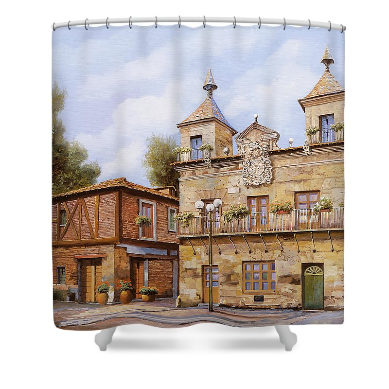Spain Shower Curtain featuring the painting Valderas-spain by Guido Borelli