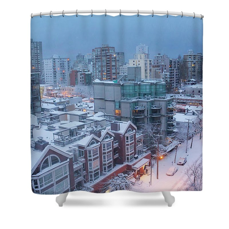 Tranquility Shower Curtain featuring the photograph Vancouver West End Buildings Under by Julius Reque