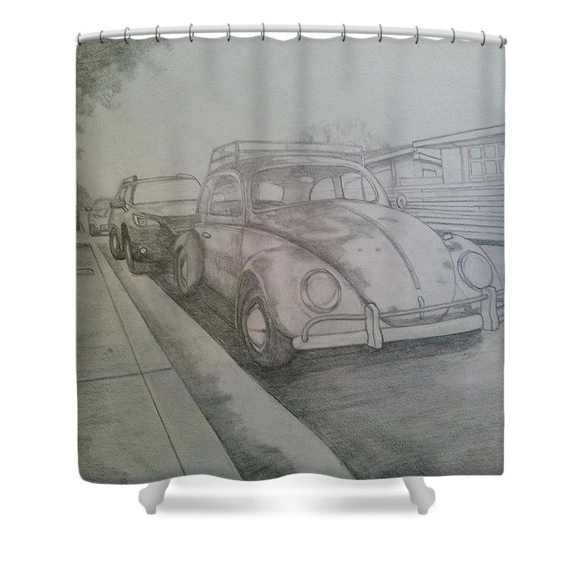 Drawing Of Vw Shower Curtain featuring the drawing Vdub by Andrew Johnson