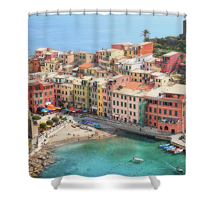 Water's Edge Shower Curtain featuring the photograph Vernazza by Borchee