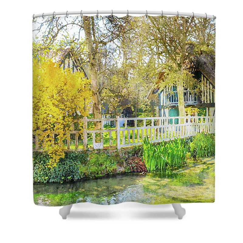 Normandy Shower Curtain featuring the painting Veules Les Roses by Delphimages Photo Creations