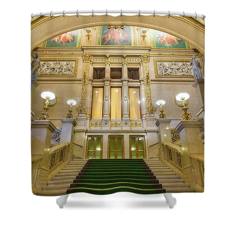 History Shower Curtain featuring the photograph Vienna Opera House, The Main Hall by Sylvain Sonnet