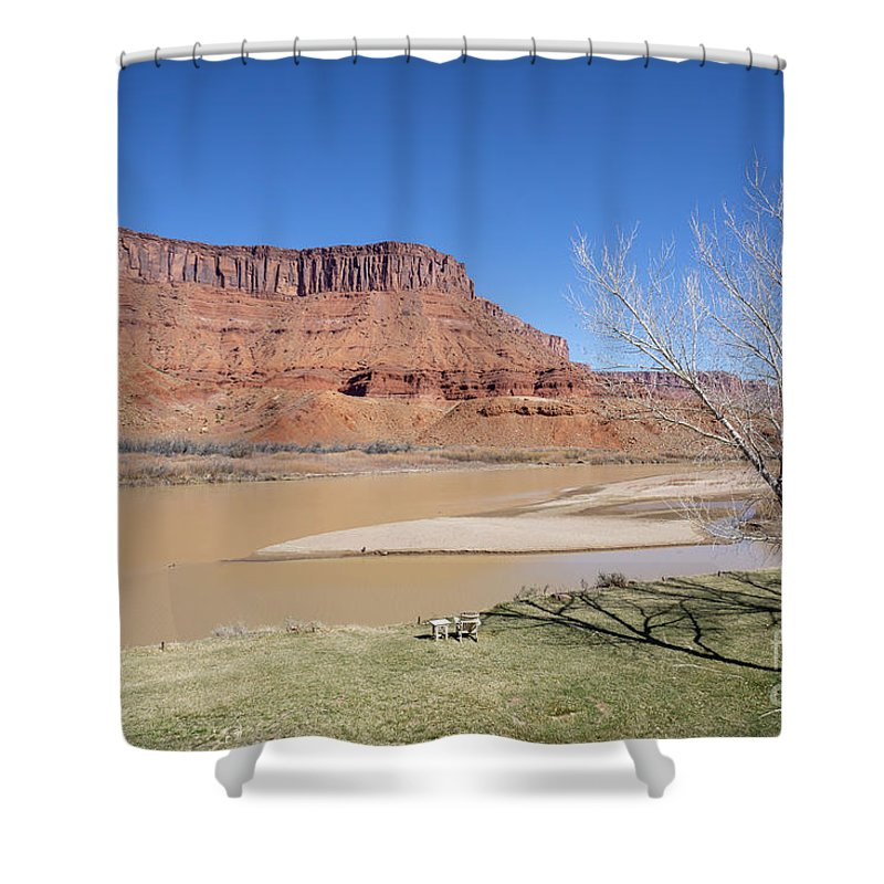 Colorado River Shower Curtain featuring the photograph View From A Cabin At Sorrel River Ranch On The Colorado River Ne by William Kuta