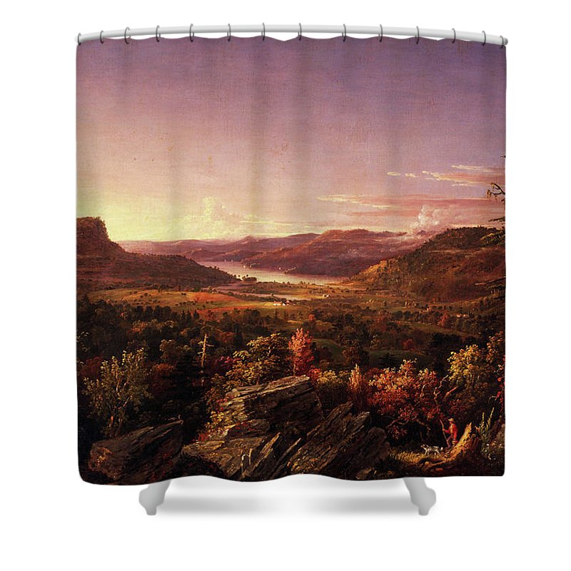 View Of Greenwood Lake Shower Curtain featuring the painting View Of Greenwood Lake, New Jersey by Jasper Francis Cropsey