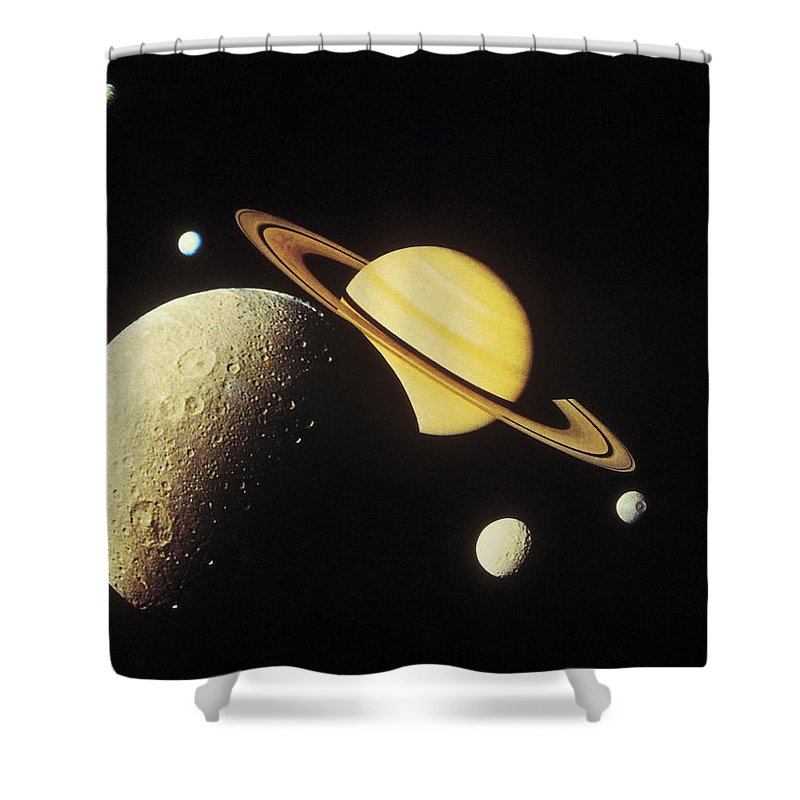 Galaxy Shower Curtain featuring the photograph View Of Planets In The Solar System by Stockbyte