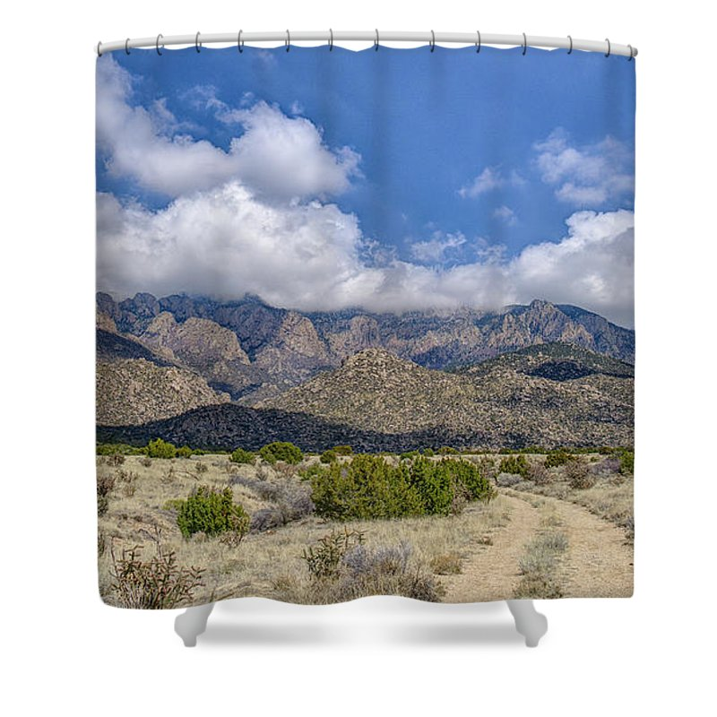 Southwest Usa Shower Curtain featuring the photograph View Of Sandia Mountain by Alan Toepfer