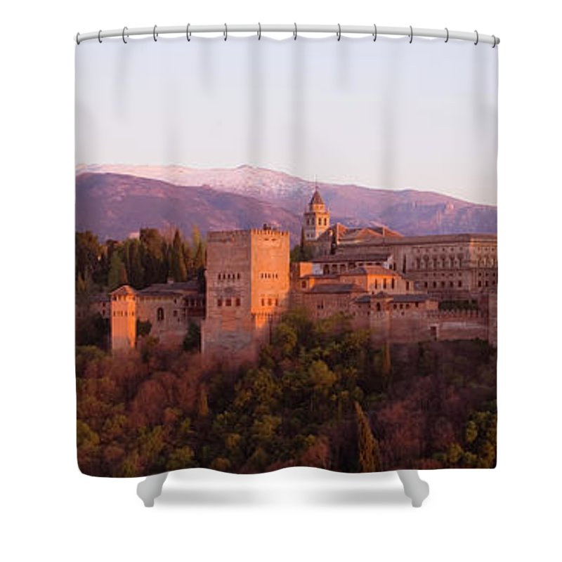 Scenics Shower Curtain featuring the photograph View To The Alhambra At Sunset by David C Tomlinson