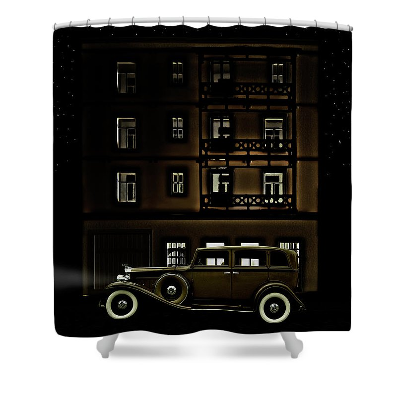 Apartment Shower Curtain featuring the photograph Vintage Car Outside Apartment Block At by Michael Duva