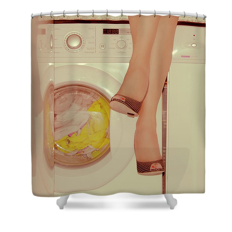 Laundromat Shower Curtain featuring the photograph Vintage Laundry by © Angie Ravelo Photography