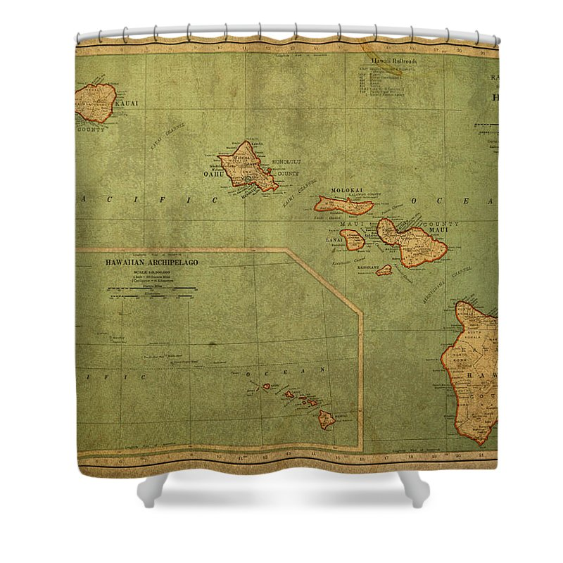 Vintage Shower Curtain featuring the mixed media Vintage Map Of Hawaii by Design Turnpike