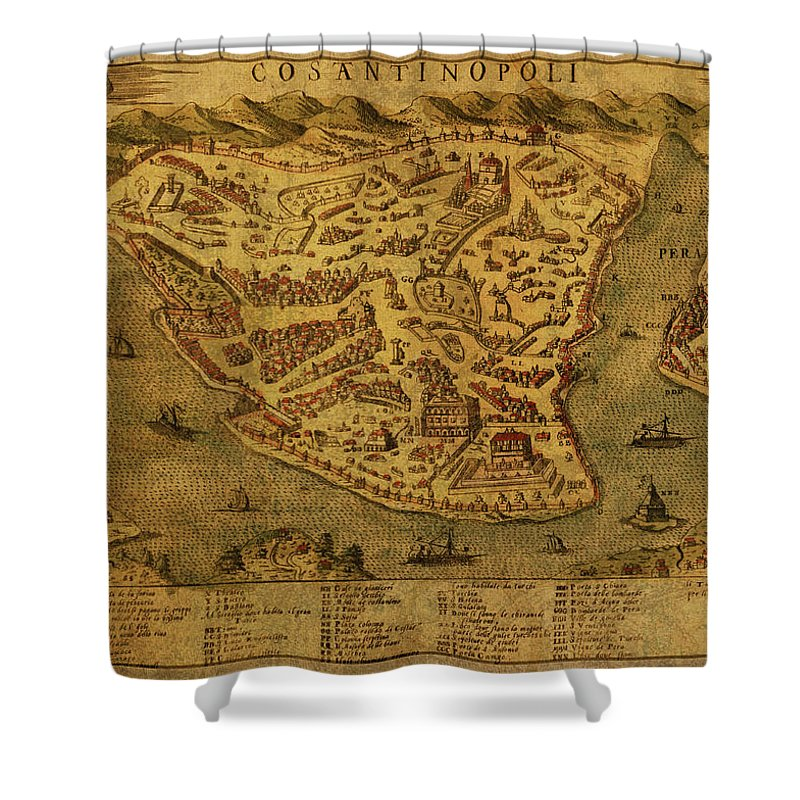 Vintage Shower Curtain Featuring The Mixed Media Map Of Istanbul Turkey 1573 By Design Turnpike