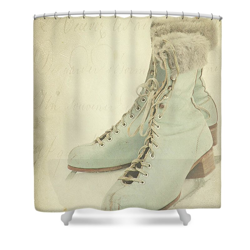 Snow Shower Curtain featuring the photograph Vintage Teal Skates by My Vintage Gardens Photography
