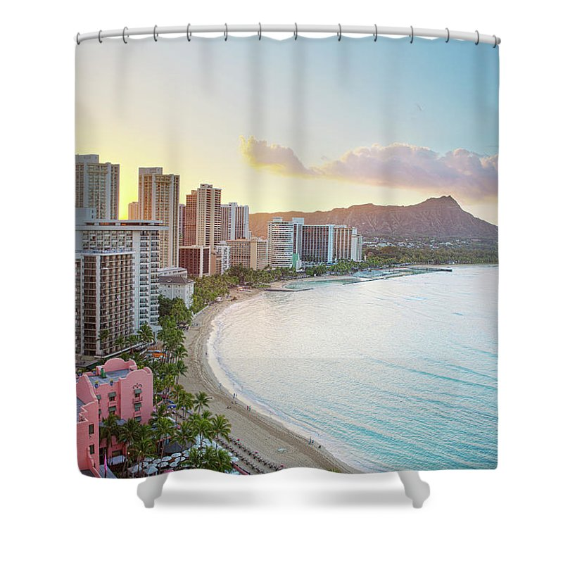 Scenics Shower Curtain featuring the photograph Waikiki Beach At Sunrise by M Swiet Productions