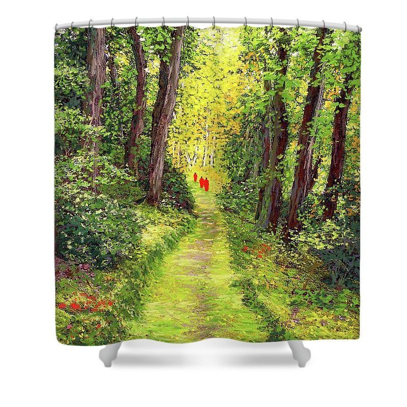 Meditation Shower Curtain featuring the painting Walking Meditation by Jane Small
