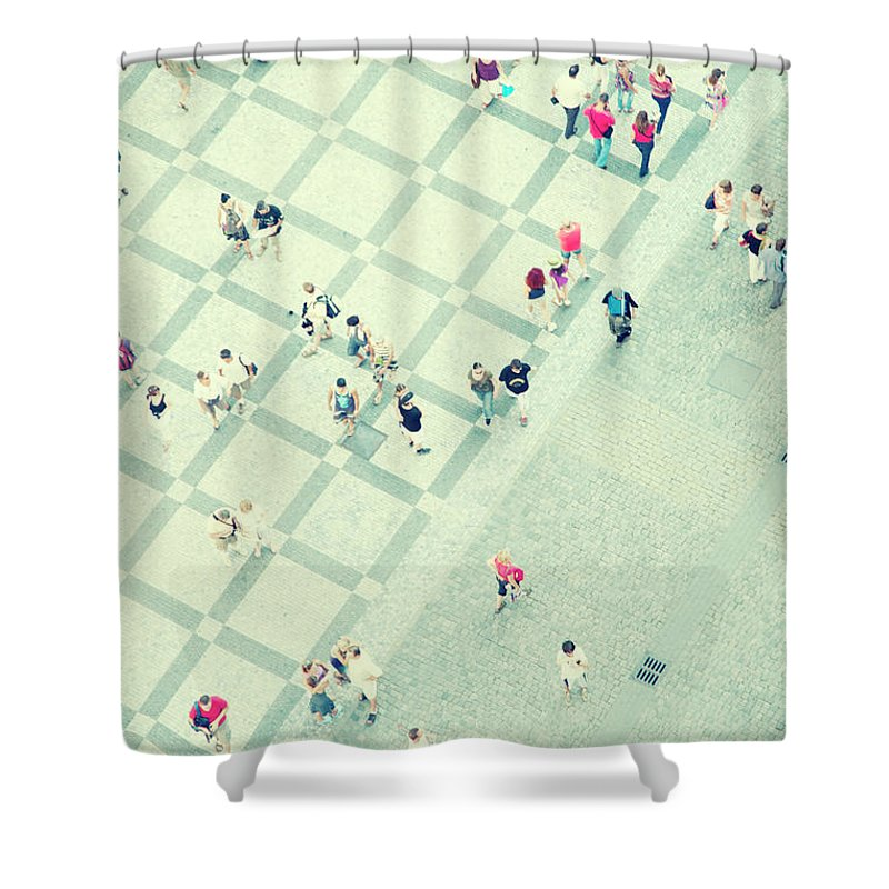 Pedestrian Shower Curtain featuring the photograph Walking People by Carlo A