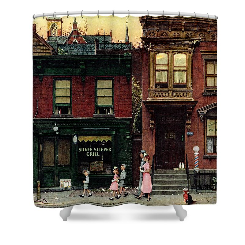 Churches Shower Curtain featuring the drawing Walking To Church by Norman Rockwell