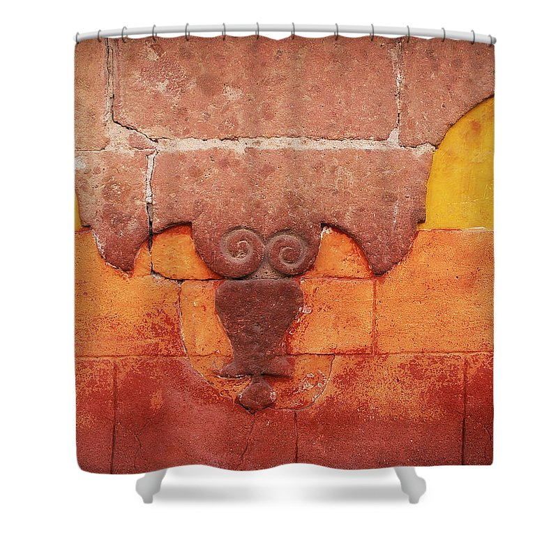 Orange Color Shower Curtain featuring the photograph Wall In San Miguel, Mexico by Billnoll