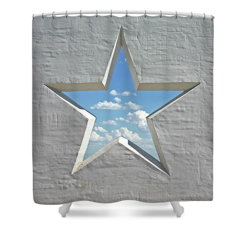 Stucco Shower Curtain featuring the photograph Wall Star 2 by Heathernemec