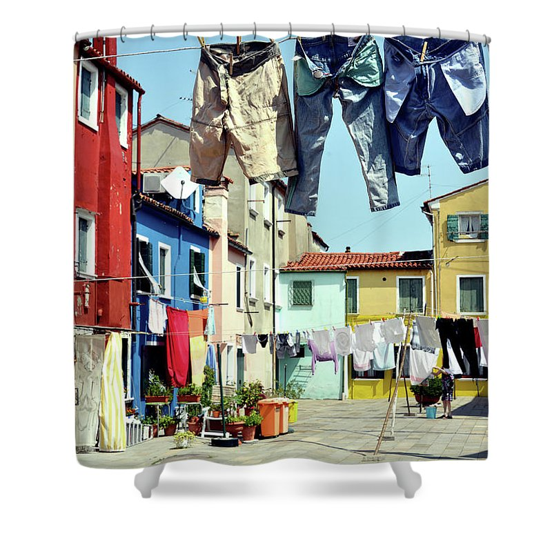 Hanging Shower Curtain featuring the photograph Washday In Burano by Paul Biris