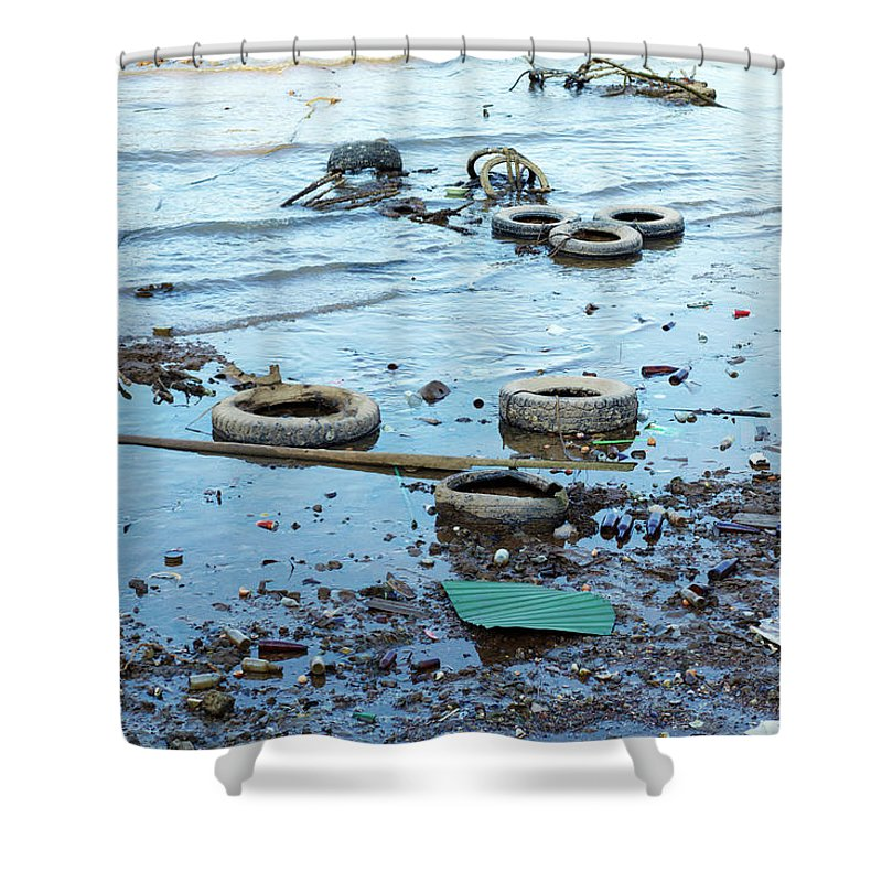 Water's Edge Shower Curtain featuring the photograph Water Pollution by Drbouz