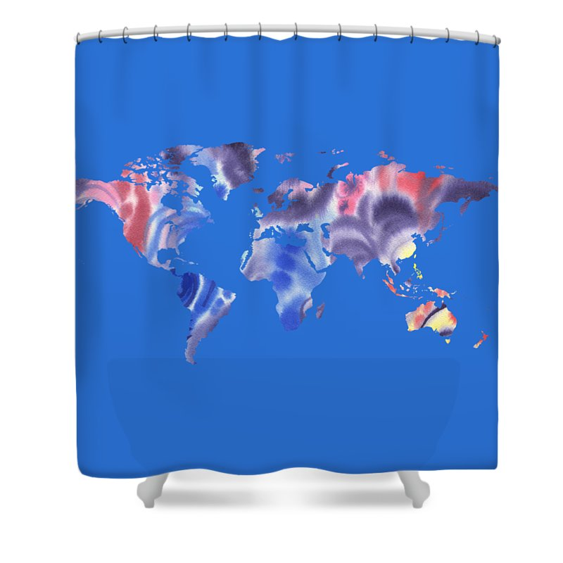 Purple Shower Curtain featuring the painting Watercolor Silhouette World Map Png IIi by Irina Sztukowski