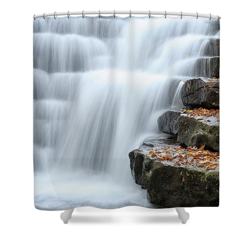 Steps Shower Curtain featuring the photograph Waterfall Flowing Over Rock Stair by Catnap72