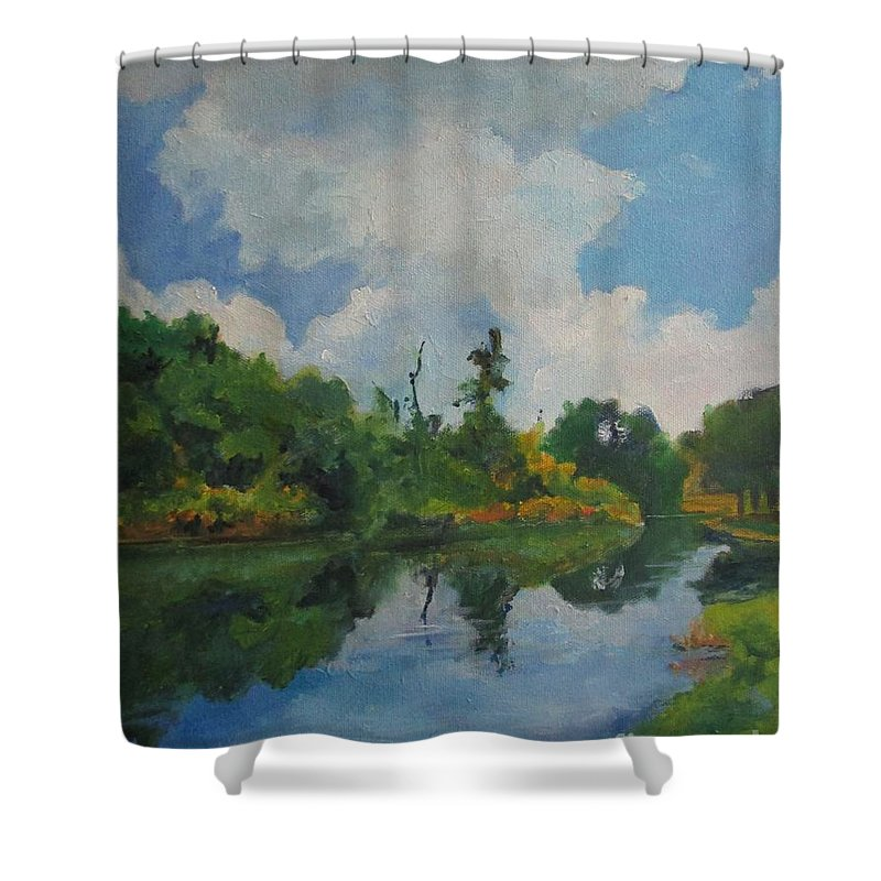 Barbara Moak Shower Curtain featuring the painting Waterway At Millennium Garden by Barbara Moak