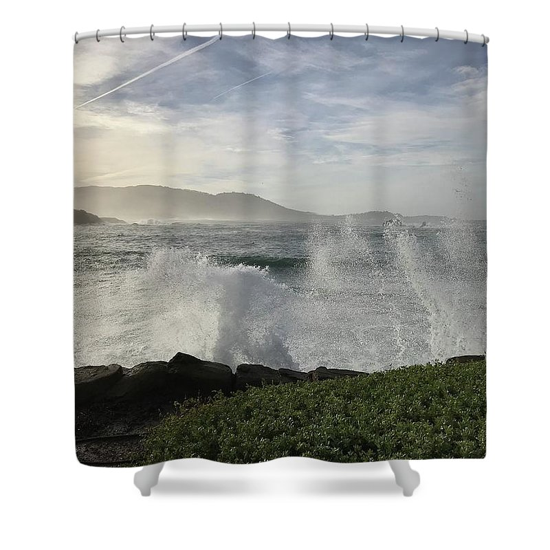 Pacific Ocean Waves White-water Spray Pebble Beach California Wind Sky Clouds Nature Hills Sea Landscape Vistas Shower Curtain featuring the photograph Waves And Spray by Terry Huntingdon Tydings