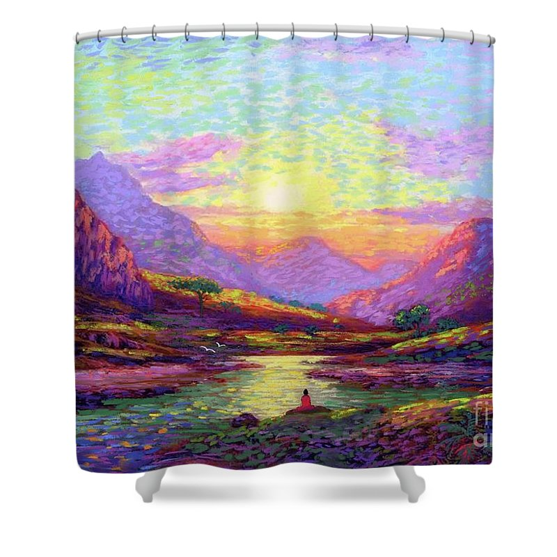 Meditation Shower Curtain featuring the painting Waves of Illumination by Jane Small