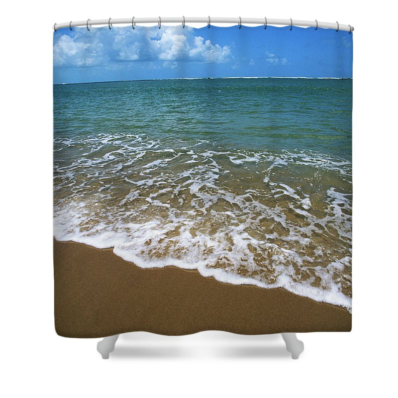 Water's Edge Shower Curtain featuring the photograph Waves Washing Onto White Sandy Beach by Luis Veiga