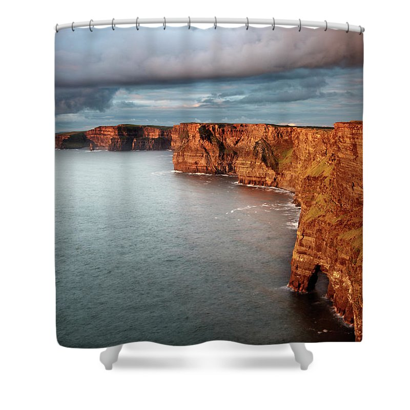 Scenics Shower Curtain featuring the photograph Waves Washing Up On Rocky Cliffs by George Karbus Photography