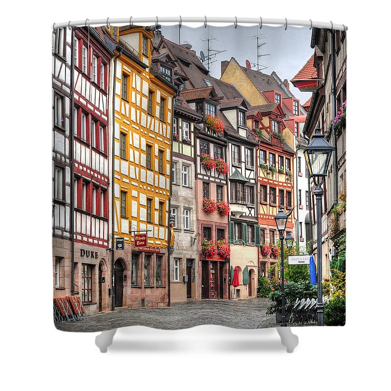 Outdoors Shower Curtain featuring the photograph Weissgerbergasse, Nuremberg by Habub3