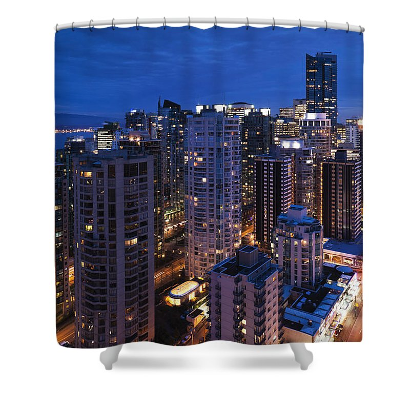Outdoors Shower Curtain featuring the photograph West End Buildings Along Robson Street by Walter Bibikow