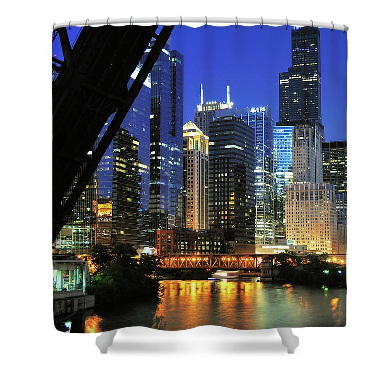 Downtown District Shower Curtain featuring the photograph West Loop From Kinzie Street Bridge by Bruce Leighty