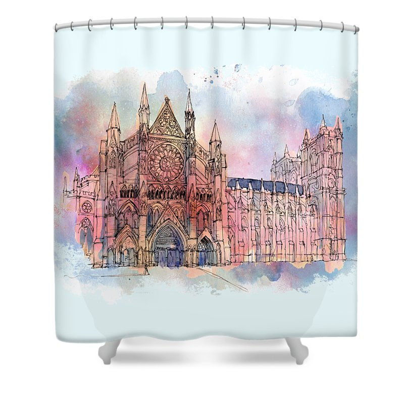 Big Ben Shower Curtain featuring the mixed media Westminster Abbey by Amanda Lakey