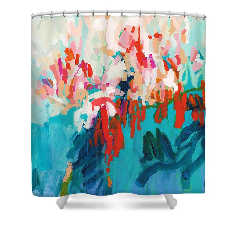 Abstract Shower Curtain featuring the painting What Are Those Birds Saying? by Claire Desjardins