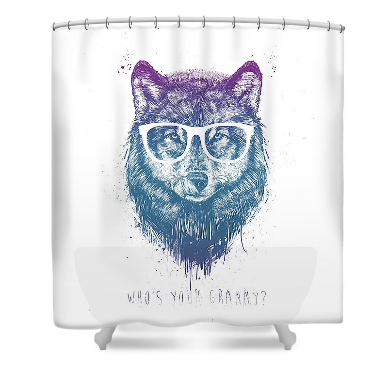 Wolf Shower Curtain featuring the mixed media Who's Your Granny? by Balazs Solti