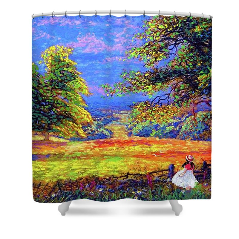 Wildflower Shower Curtain featuring the painting Flower Fields by Jane Small