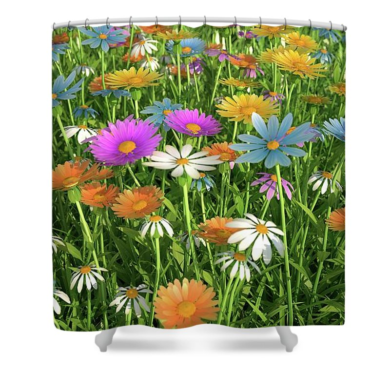 Grass Shower Curtain featuring the digital art Wildflower Meadow, Artwork by Leonello Calvetti