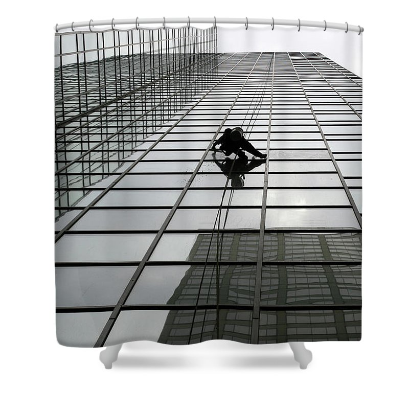 Working Shower Curtain featuring the photograph Window Washer by Filo