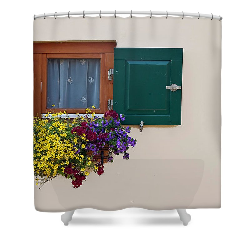 Outdoors Shower Curtain featuring the photograph Window With Flowers by Enzo D.