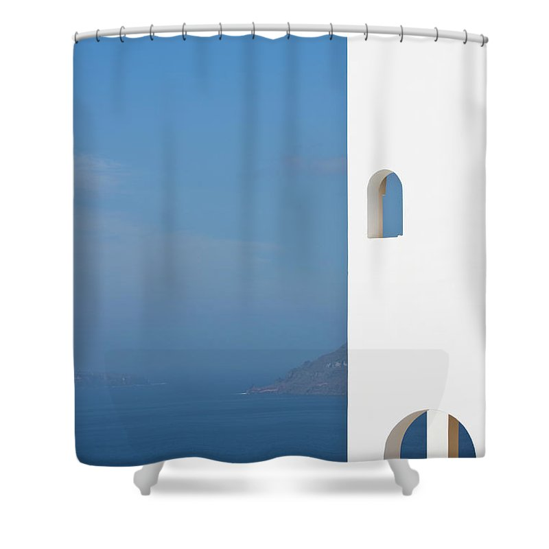 Greece Shower Curtain featuring the photograph Windows To The Blue by Arturbo