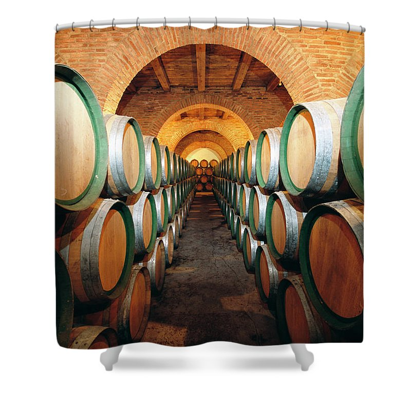Working Shower Curtain featuring the photograph Wine Barrels In Cellar, Spain by Johner Images
